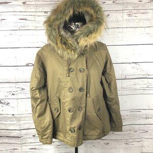 Free People Keep Me Warm Parka Jacket Hooded Khaki Green Faux Fur Sherpa M